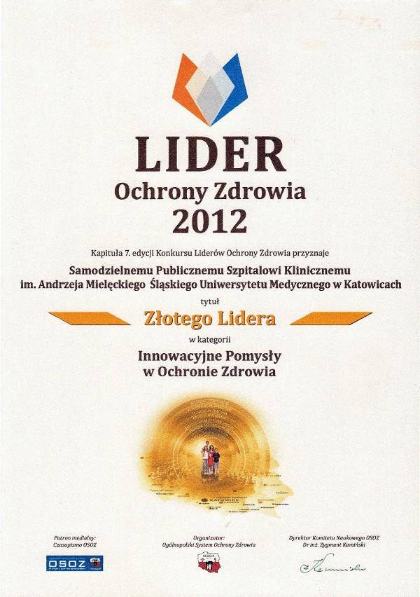 SPSKM Lider Ochrony Zdrowia 2012