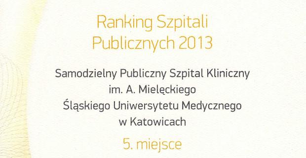 SPSKM ranking szpitali publicznych 2013